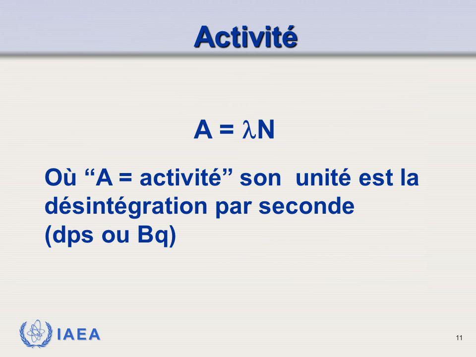 Activité A = N. Où A = activité son unité est la désintégration par seconde. (dps ou Bq)