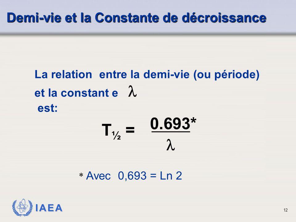0.693* T½ =  Demi-vie et la Constante de décroissance