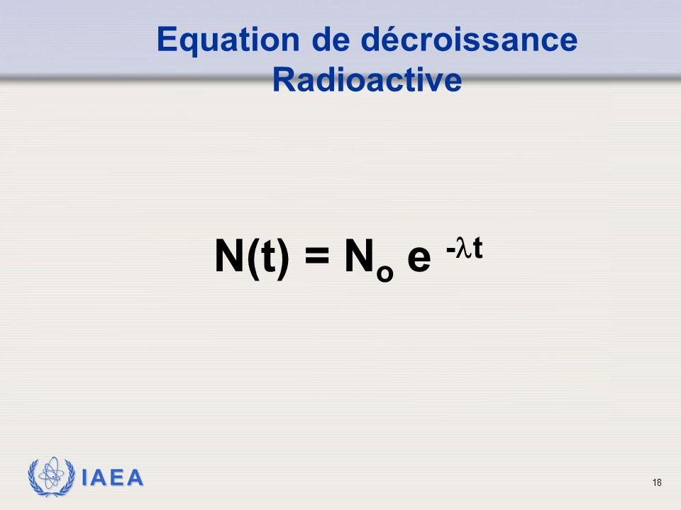 Equation de décroissance Radioactive
