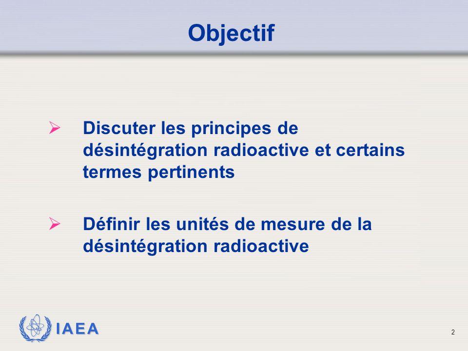 Objectif Discuter les principes de désintégration radioactive et certains termes pertinents.