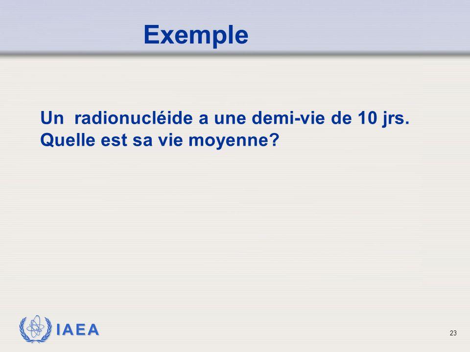 Exemple Un radionucléide a une demi-vie de 10 jrs. Quelle est sa vie moyenne