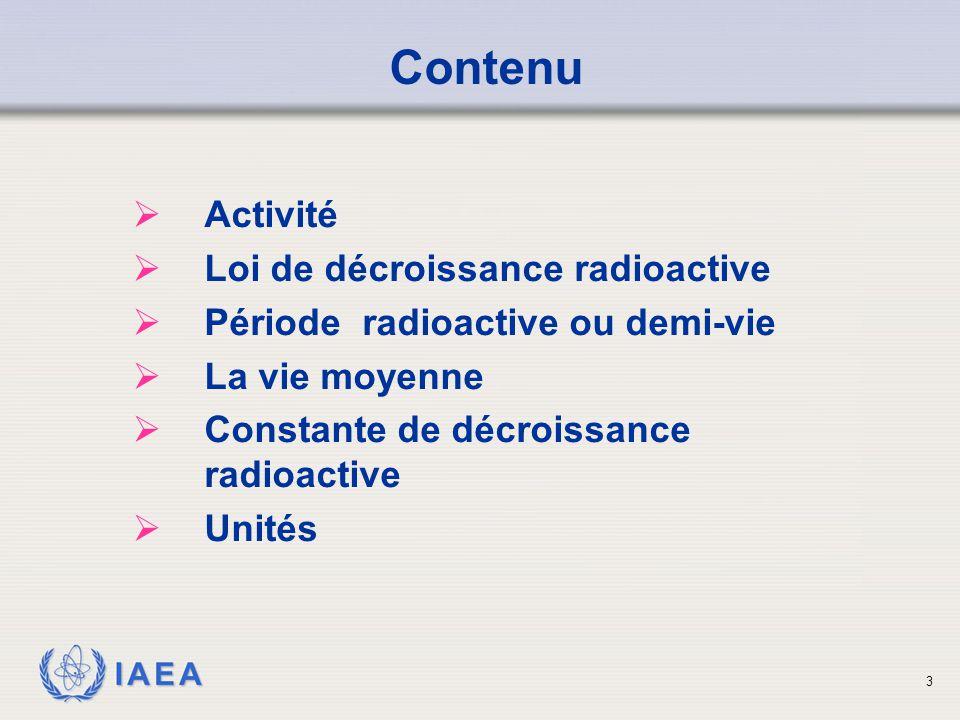 Contenu Activité Loi de décroissance radioactive