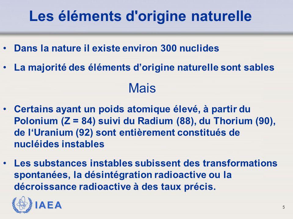 Les éléments d origine naturelle