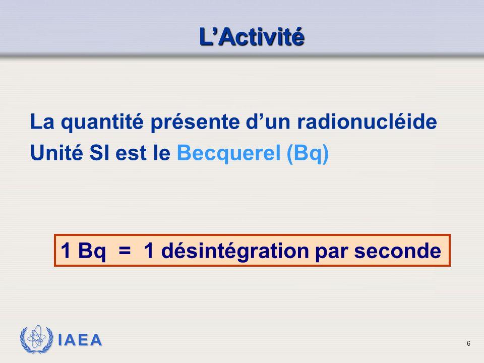 L'Activité La quantité présente d'un radionucléide