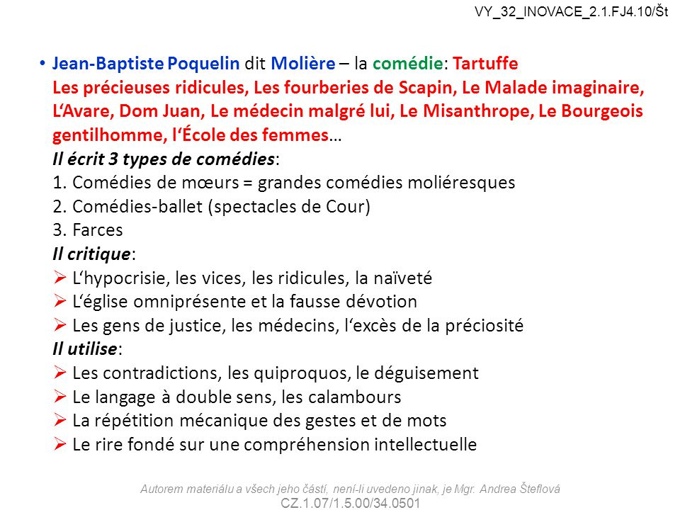Jean-Baptiste Poquelin dit Molière – la comédie: Tartuffe