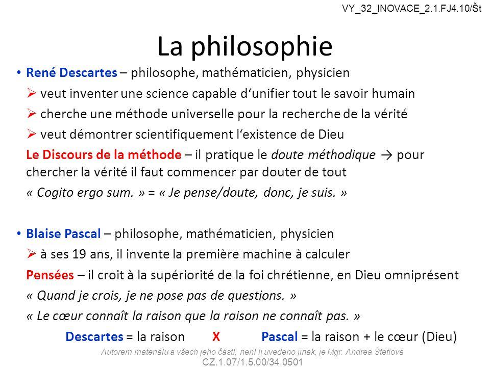 La philosophie René Descartes – philosophe, mathématicien, physicien