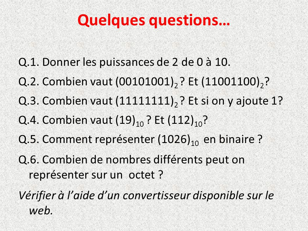 Quelques questions…