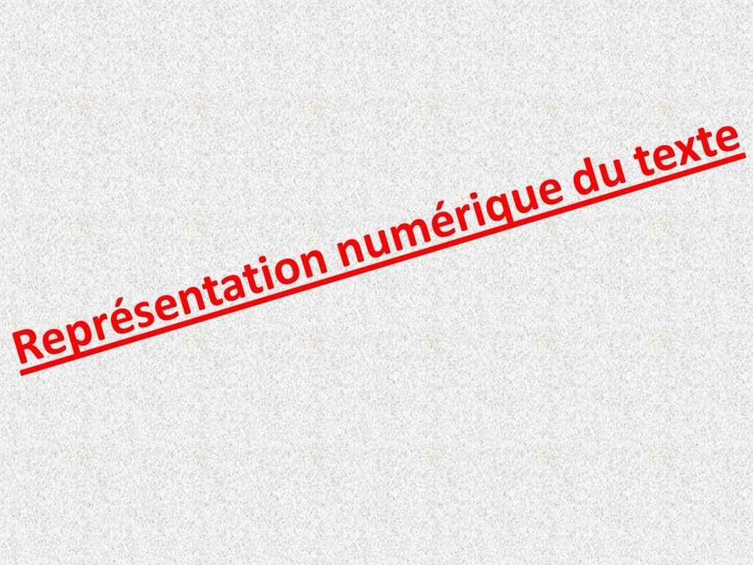 Représentation numérique du texte