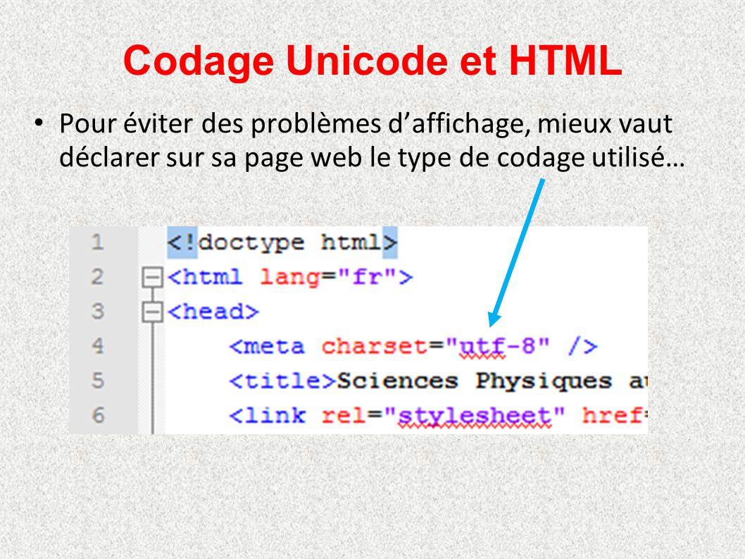 Codage Unicode et HTML Pour éviter des problèmes d'affichage, mieux vaut déclarer sur sa page web le type de codage utilisé…