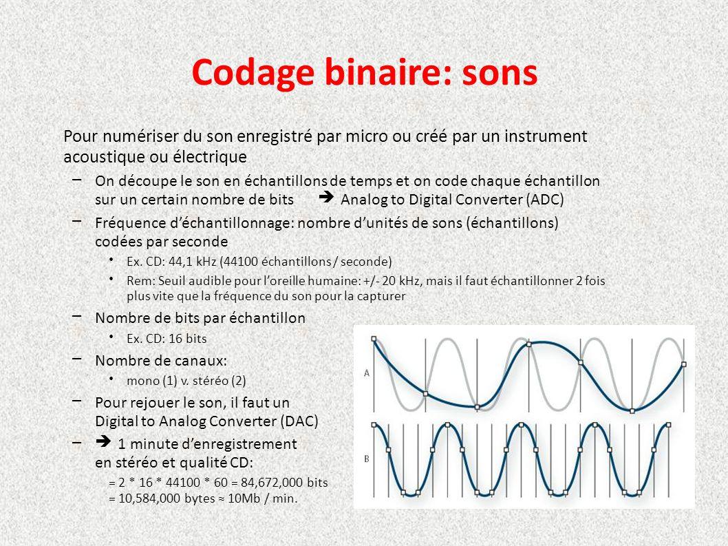 Codage binaire: sons Pour numériser du son enregistré par micro ou créé par un instrument. acoustique ou électrique.