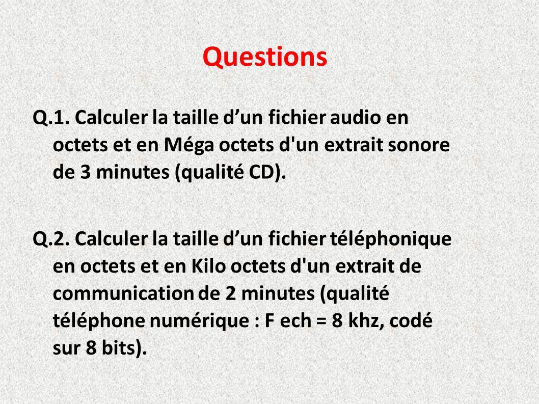Questions Q.1. Calculer la taille d'un fichier audio en