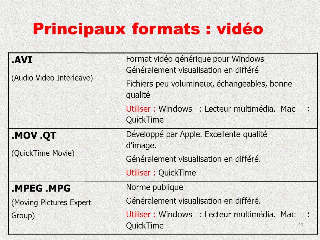 Principaux formats : vidéo