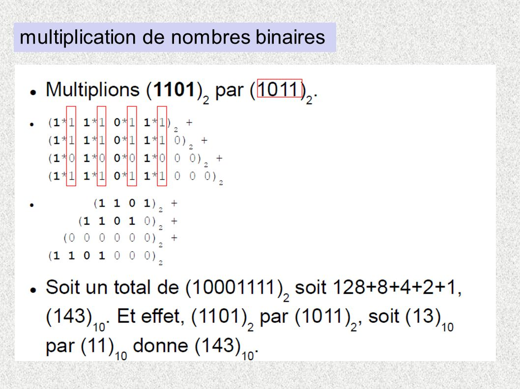 multiplication de nombres binaires