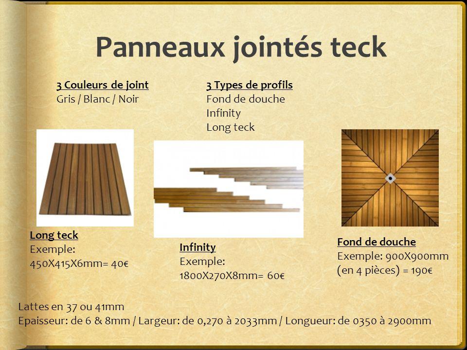 Panneaux jointés teck 3 Couleurs de joint Gris / Blanc / Noir