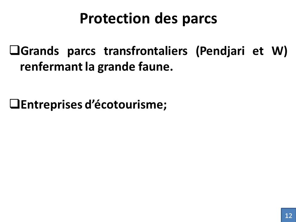 Protection des parcs Grands parcs transfrontaliers (Pendjari et W) renfermant la grande faune. Entreprises d'écotourisme;