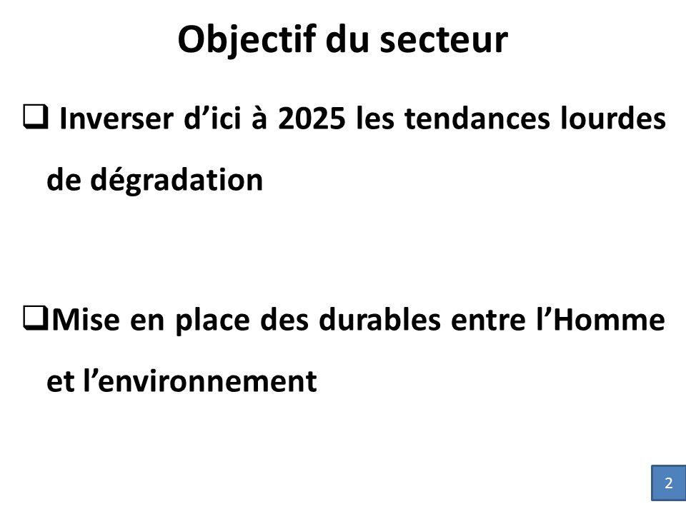 Objectif du secteur Inverser d'ici à 2025 les tendances lourdes de dégradation. Mise en place des durables entre l'Homme et l'environnement.