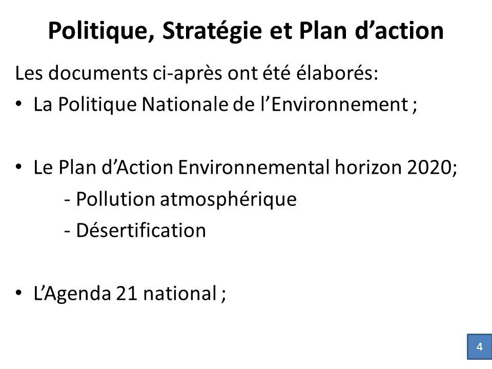 Politique, Stratégie et Plan d'action