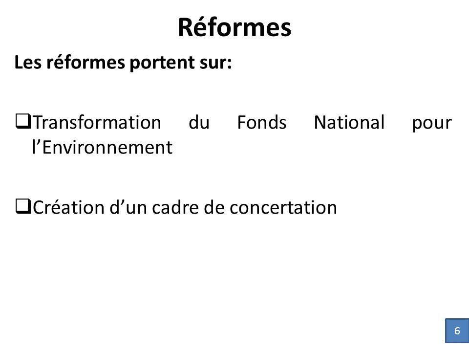 Réformes Les réformes portent sur: