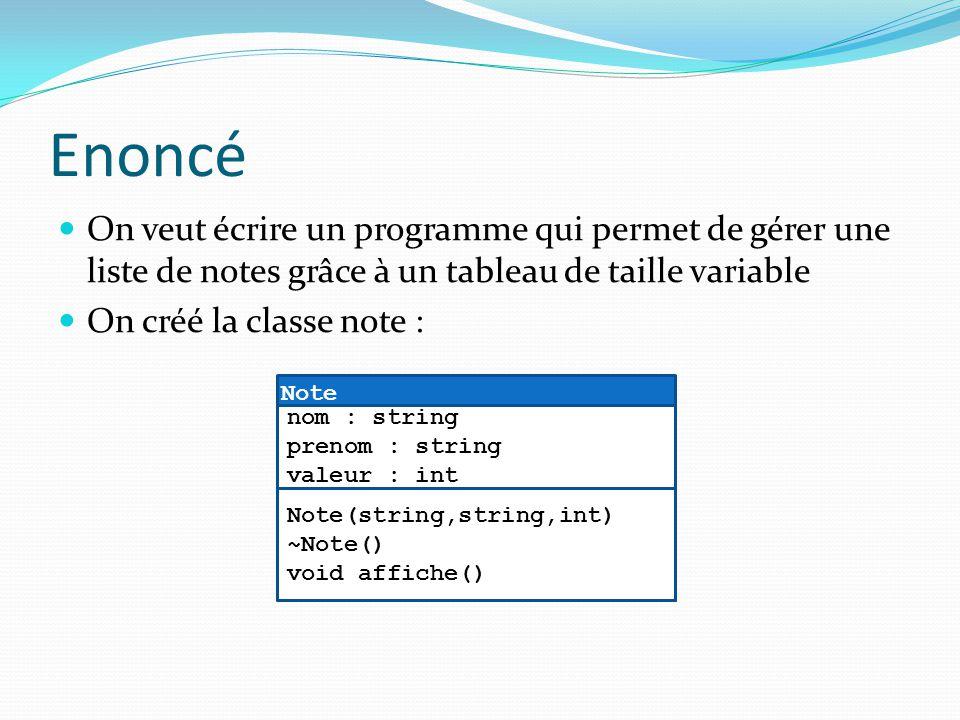 Enoncé On veut écrire un programme qui permet de gérer une liste de notes grâce à un tableau de taille variable.