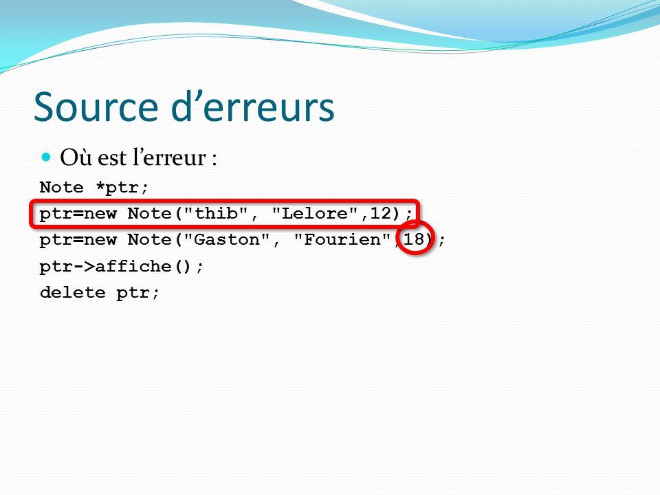 Source d'erreurs Où est l'erreur : Note *ptr;