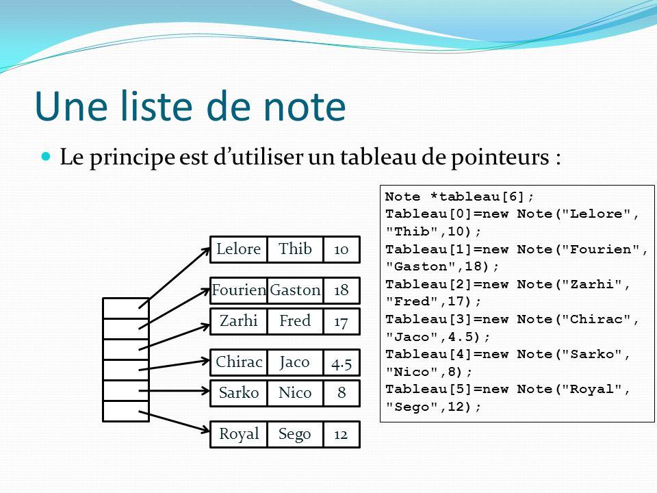 Une liste de note Le principe est d'utiliser un tableau de pointeurs :