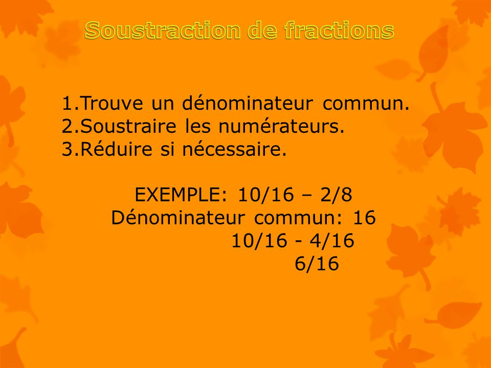 Soustraction de fractions