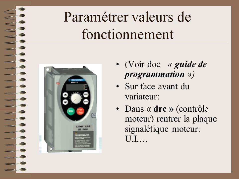 Paramétrer valeurs de fonctionnement