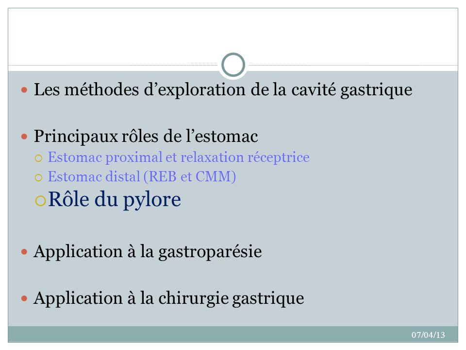Rôle du pylore Les méthodes d'exploration de la cavité gastrique