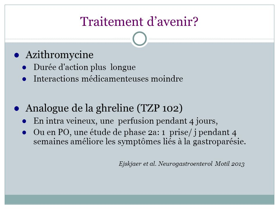 Traitement d'avenir Azithromycine Analogue de la ghreline (TZP 102)‏