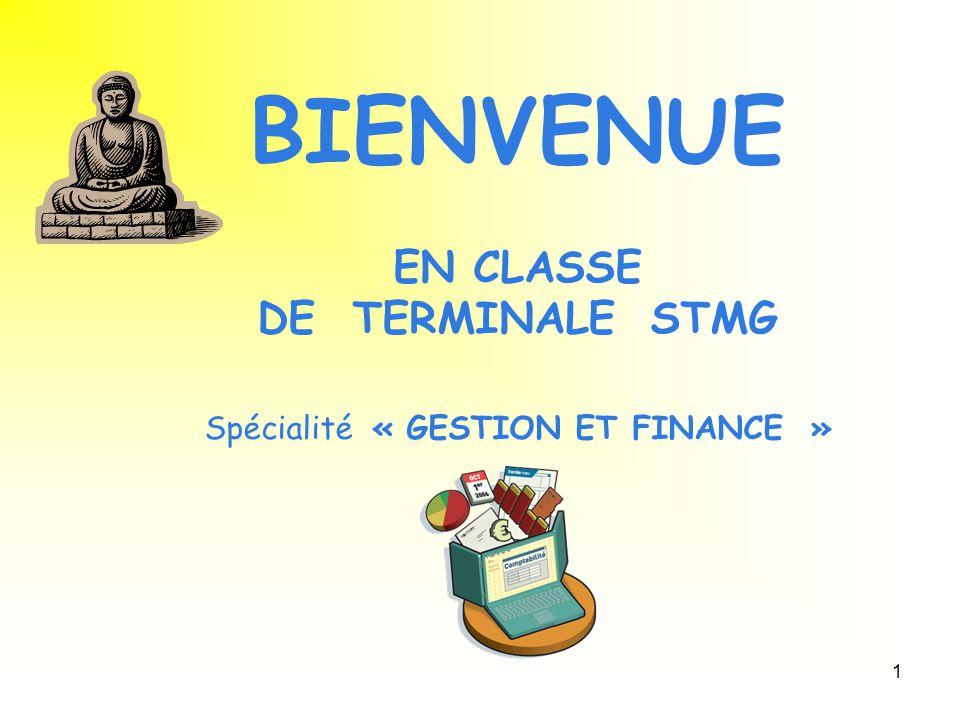 BIENVENUE EN CLASSE DE TERMINALE STMG Spécialité « GESTION ET FINANCE »