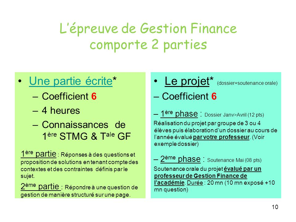 L'épreuve de Gestion Finance comporte 2 parties