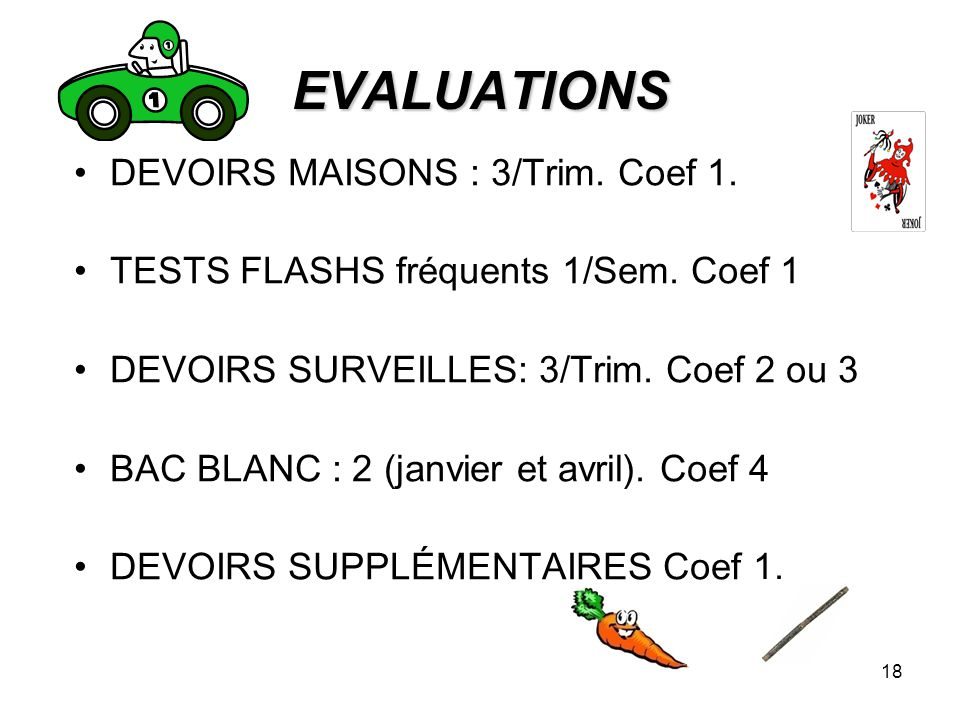 EVALUATIONS DEVOIRS MAISONS : 3/Trim. Coef 1.