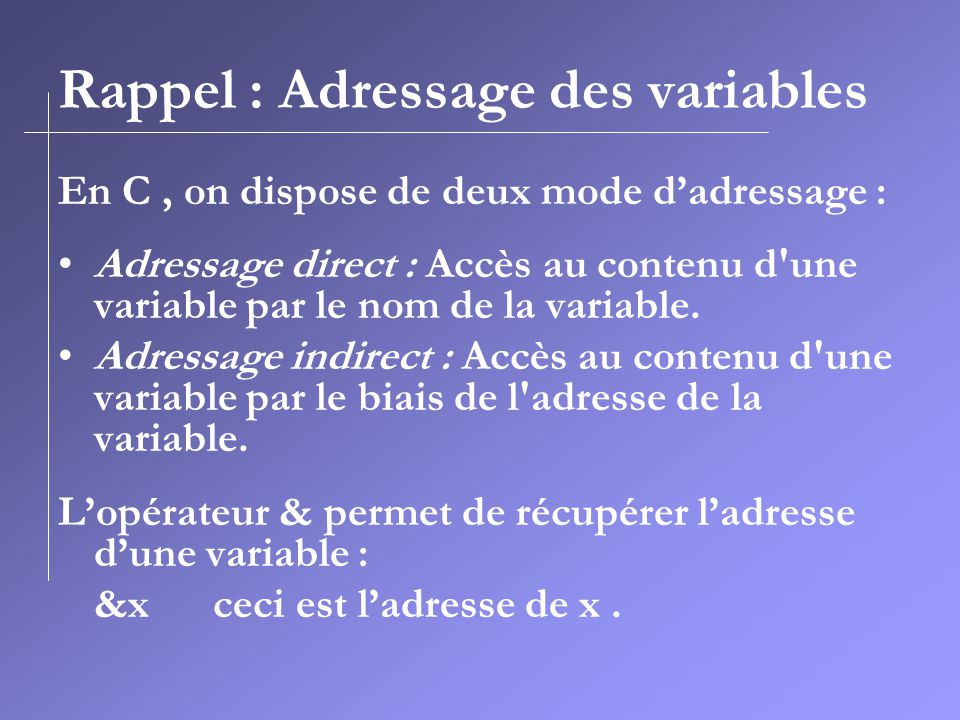 Rappel : Adressage des variables