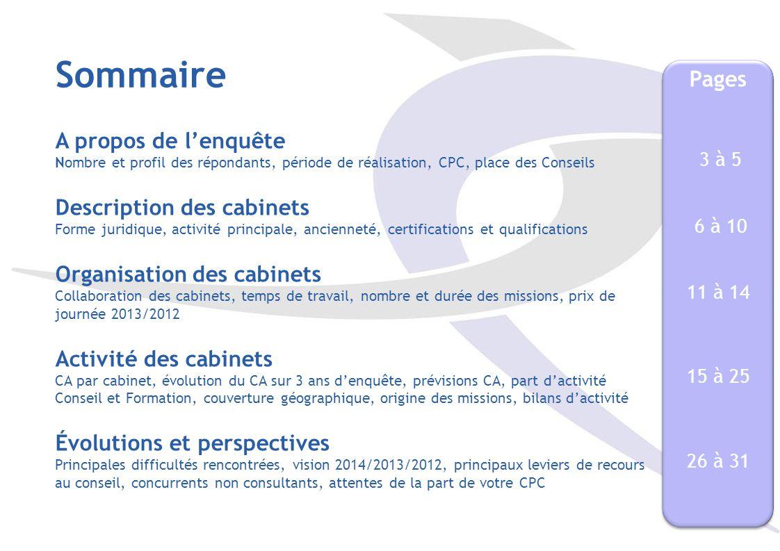 Sommaire Pages. A propos de l'enquête Nombre et profil des répondants, période de réalisation, CPC, place des Conseils.