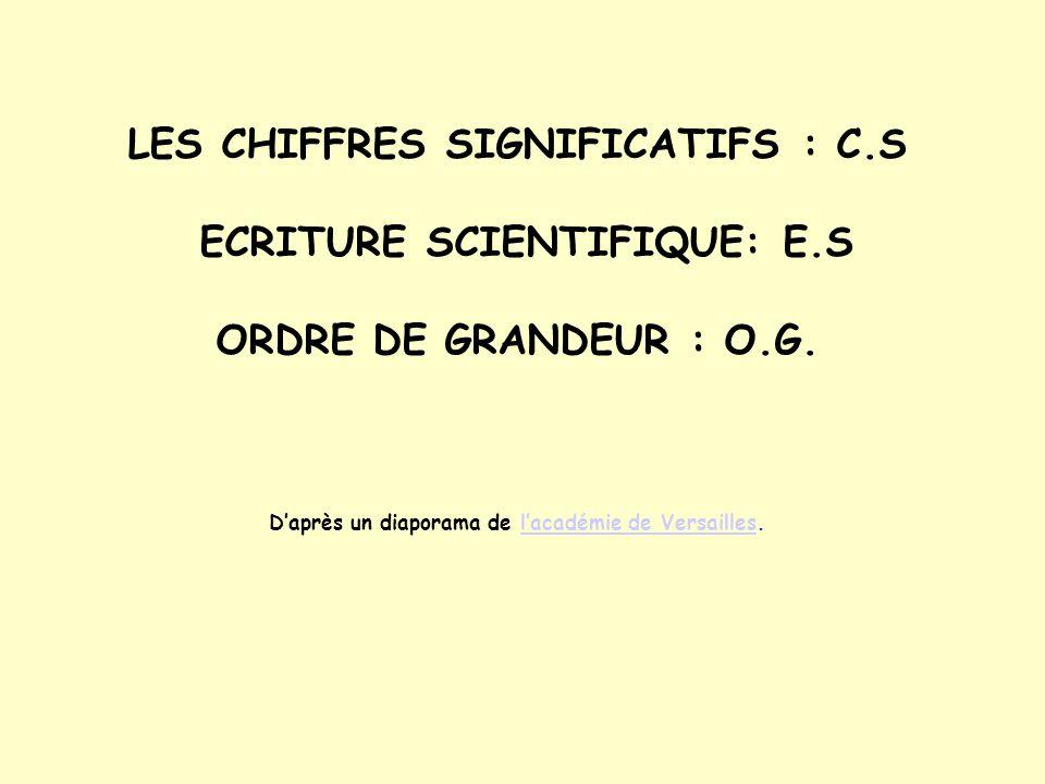 LES CHIFFRES SIGNIFICATIFS : C. S ECRITURE SCIENTIFIQUE: E