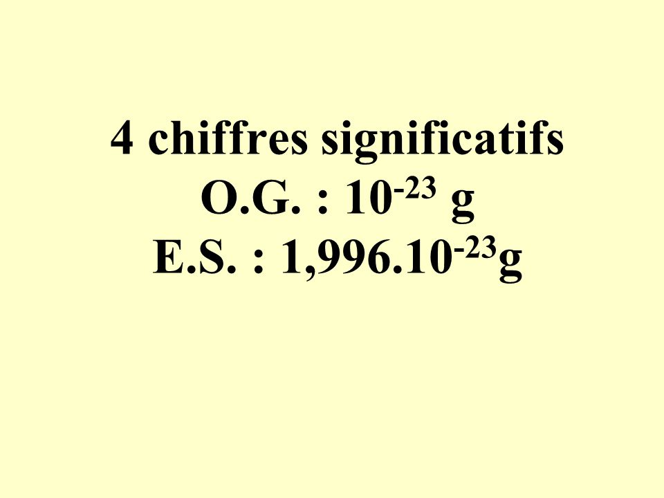 4 chiffres significatifs O.G. : 10-23 g E.S. : 1,996.10-23g