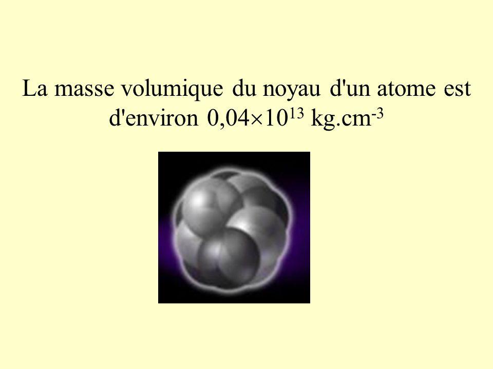 La masse volumique du noyau d un atome est d environ 0,041013 kg.cm-3