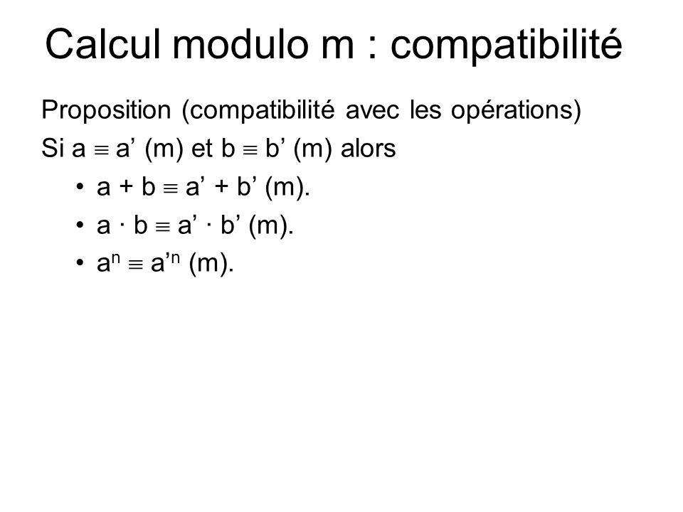 Calcul modulo m : compatibilité