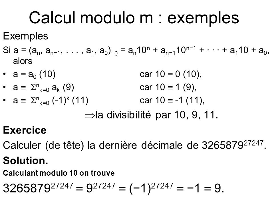 Calcul modulo m : exemples
