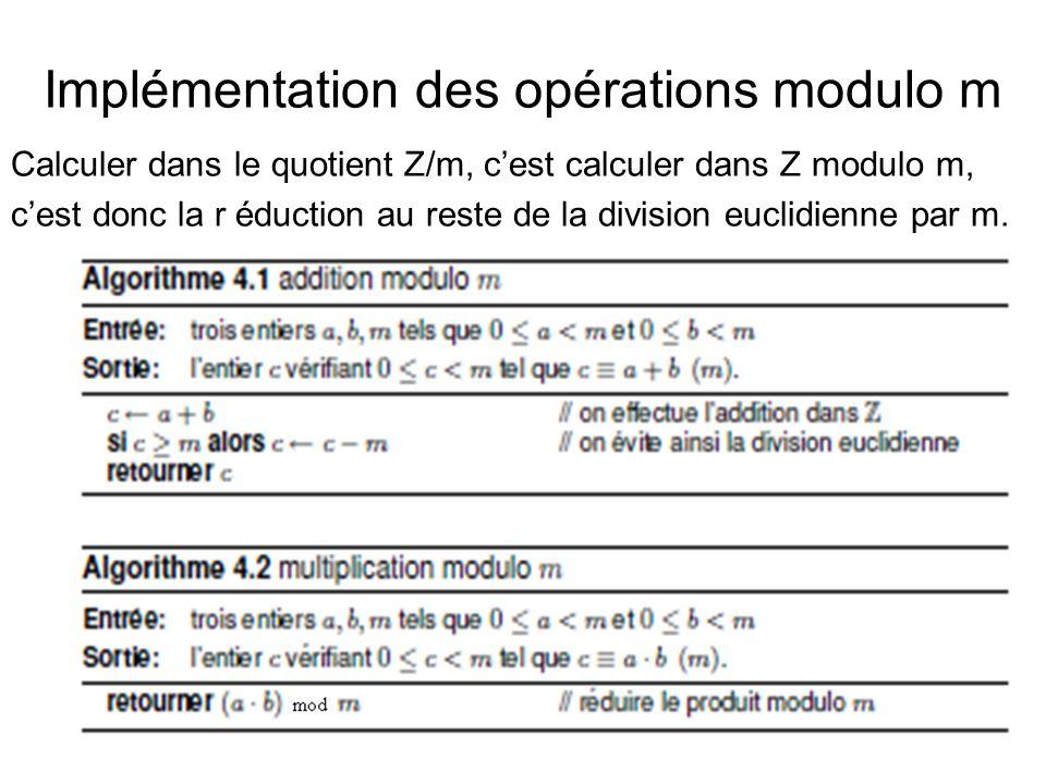 Implémentation des opérations modulo m