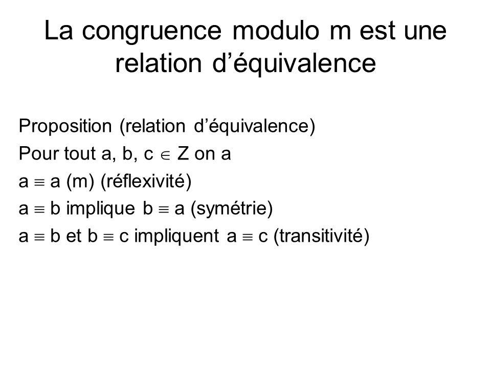 La congruence modulo m est une relation d'équivalence