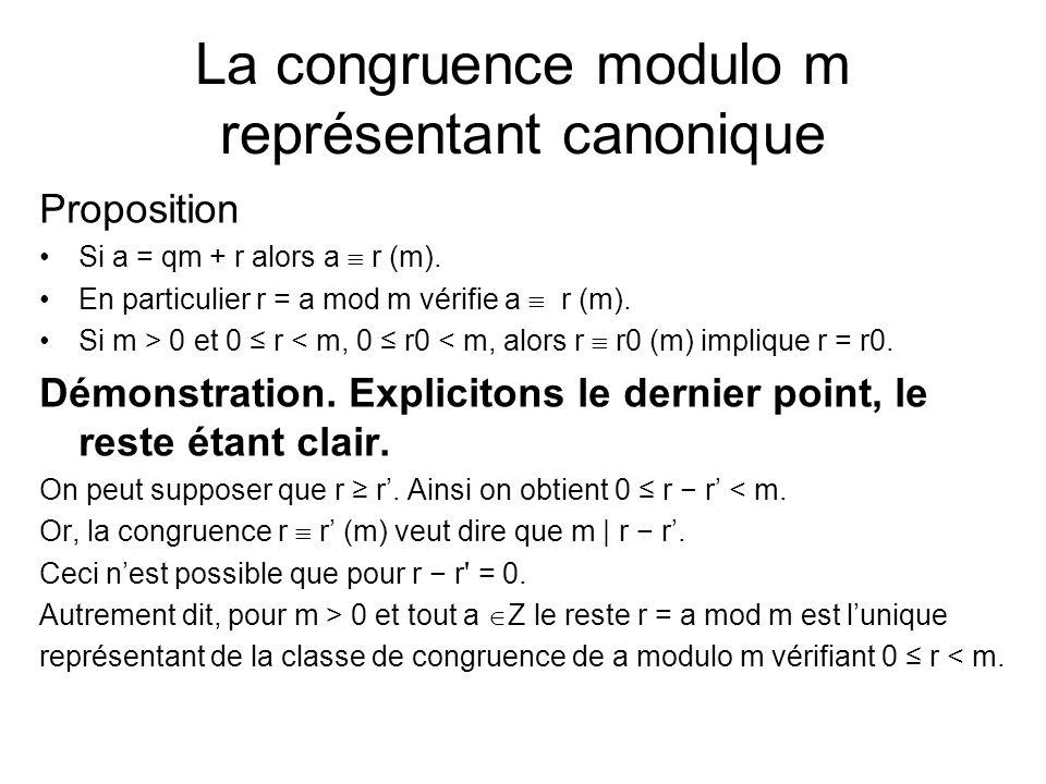 La congruence modulo m représentant canonique