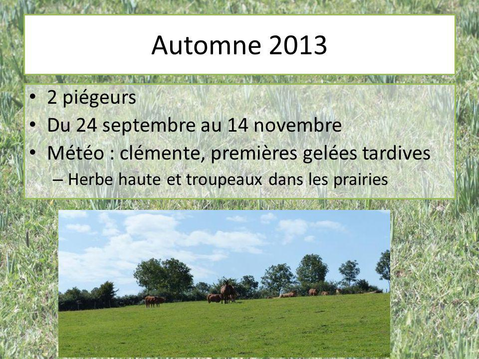 Automne 2013 2 piégeurs Du 24 septembre au 14 novembre