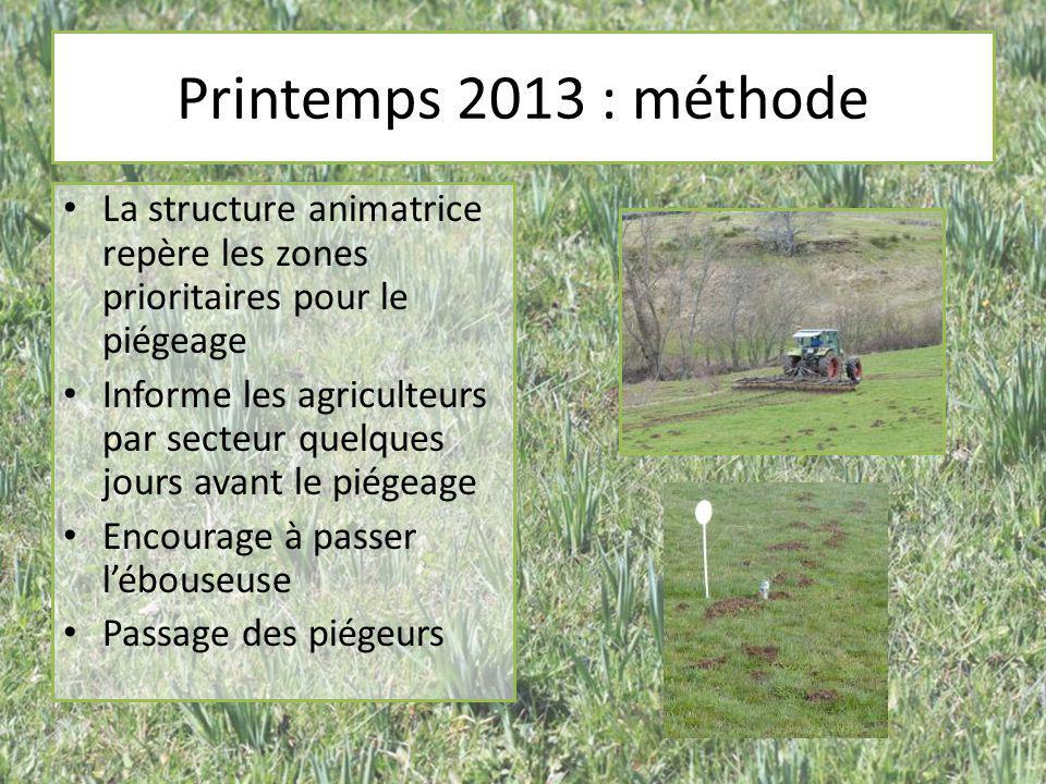 Printemps 2013 : méthode La structure animatrice repère les zones prioritaires pour le piégeage.