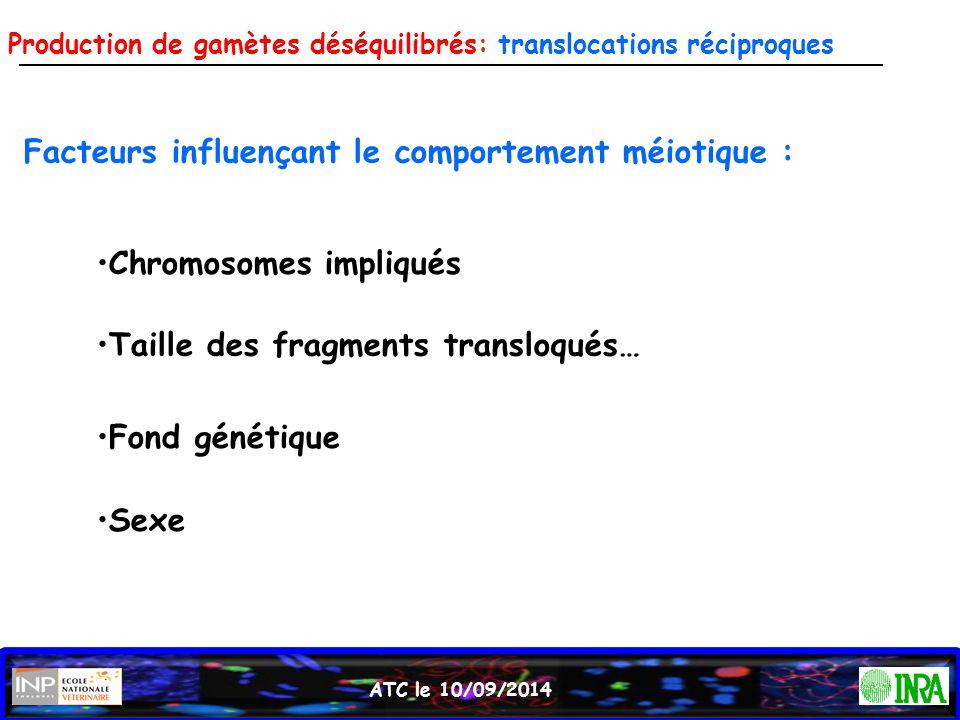Facteurs influençant le comportement méiotique :