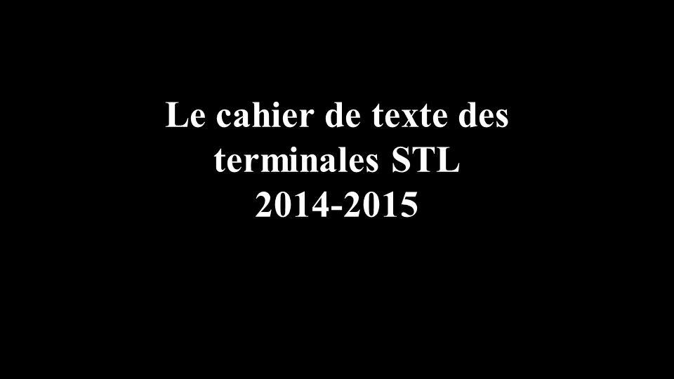 Le cahier de texte des terminales STL