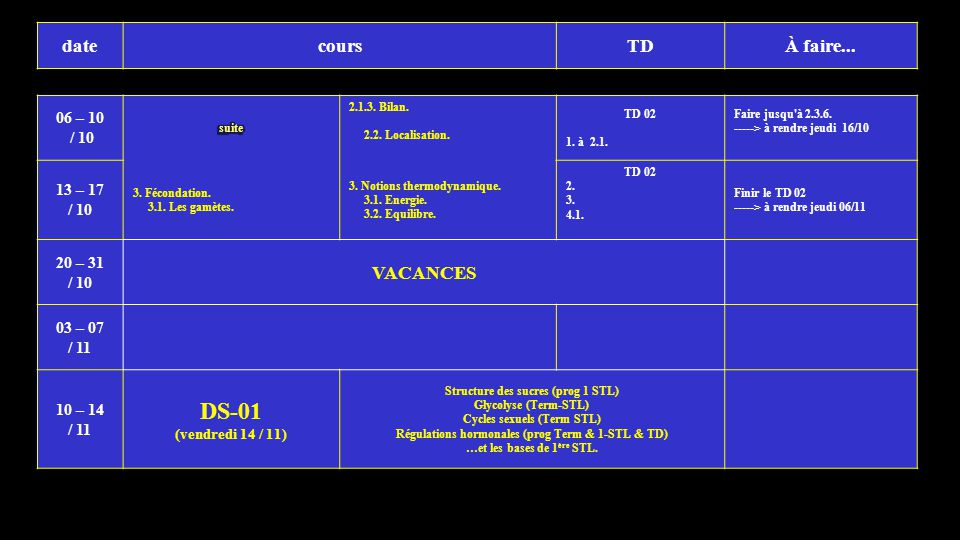 1 DS-01 date cours TD À faire... VACANCES 06 – 10 / 10 13 – 17 20 – 31