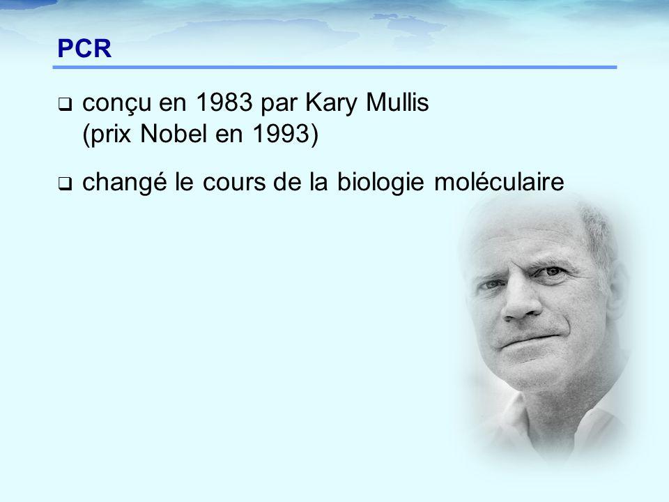 PCR conçu en 1983 par Kary Mullis (prix Nobel en 1993) changé le cours de la biologie moléculaire