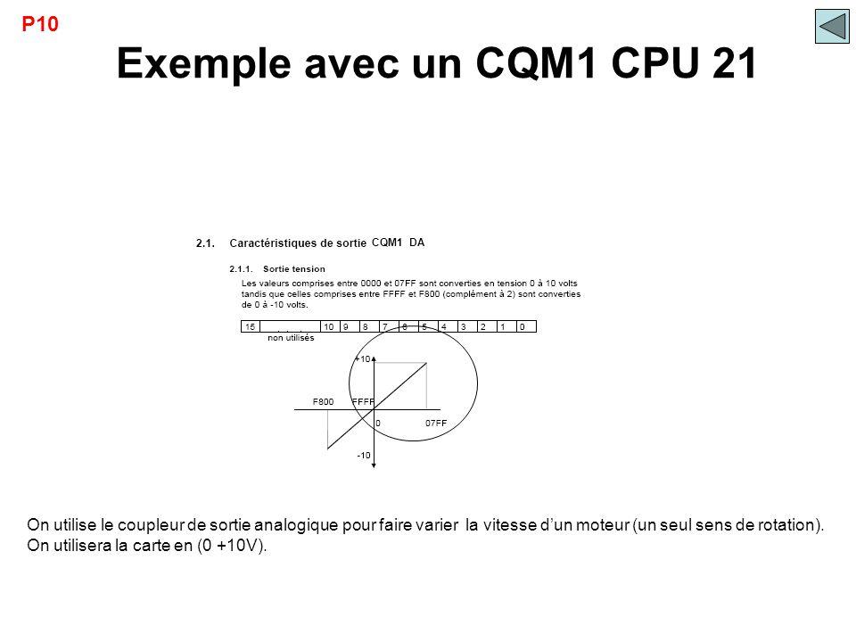 Exemple avec un CQM1 CPU 21 P10