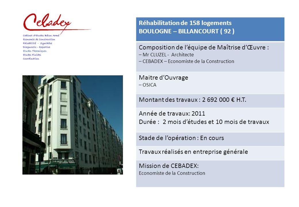 Réhabilitation de 158 logements BOULOGNE – BILLANCOURT ( 92 )